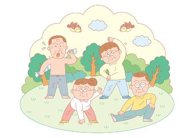 公園で朝に体操やストレッチ、乾布摩擦をする男女