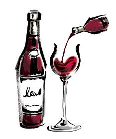 ワインボトルとワイングラスに赤ワインを注いでいる手描きイラスト素材