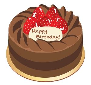 チョコレートと苺のお誕生日ケーキのイラスト