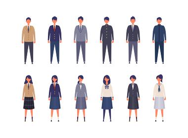 様々な制服を着た男女の高校生、中学生