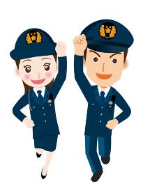 働く人ジャンプ ガッツポーズをする男女警官婦人警官・警察官・お巡りさんのイラスト若者青年飛躍成功