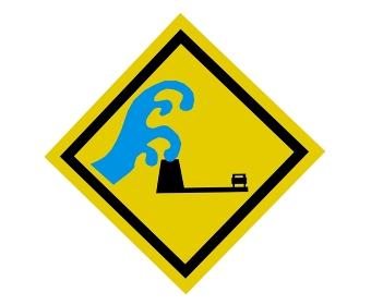 大きな津波から逃げる車のアイコン