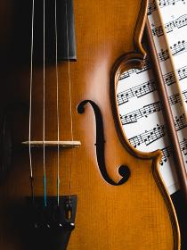 Cropped Image Of Violin Against Black Background