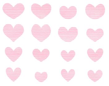 ピンクと白のボーダー柄ハートのアイコンセット バレンタイン素材