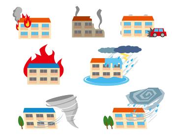 アパートの災害イメージセット