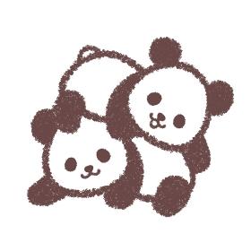 じゃれ合う双子の子供パンダ