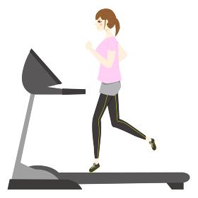 ランニングマシーンでトレーニングをする女性