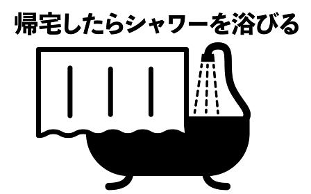 シャワーを浴びるシンプルなアイコンイラスト