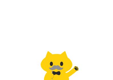 グレーの口ひげのプロップを持つかわいい猫:敬老の日・父の日、おじいさん・お父さんイメージ素材・白背景