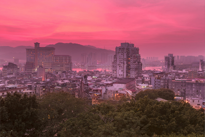 image of Macau downtown at Twilight