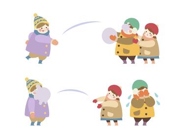 雪合戦する子供たち 2コマ セット