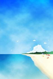 夏のビーチと青い海の風景イラスト 水彩 背景素材 縦