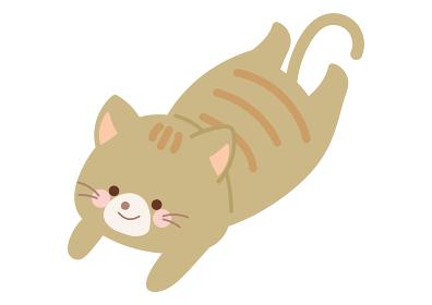 寝そべるネコのイラスト