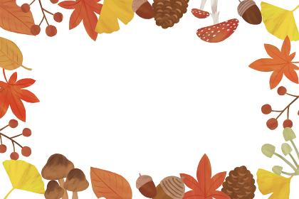 秋 白 四角 枠 フレーム イラスト パターン 紅葉 イチョウ どんぐり 松ぼっくり きのこ 葉っぱ