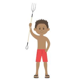 銛で漁をする男性のイラスト