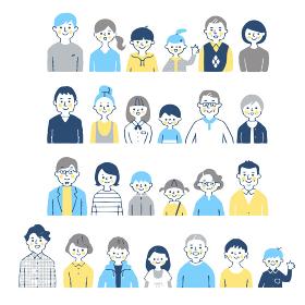 4組の三世代家族 バストアップ セット