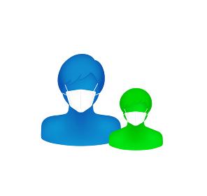 マスクをした抽象的・立体的な人物シルエットイラスト(上半身) /父と息子・お父さんと子供