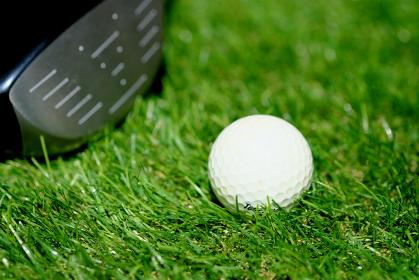 芝生のうえのゴルフボールとドライバー