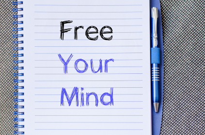 Free your mind write on notebook