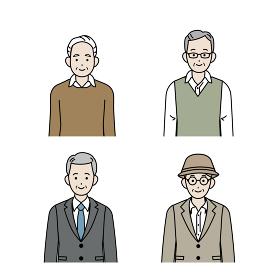 年配の男性 シニア 高齢者 人々 セット イラスト素材