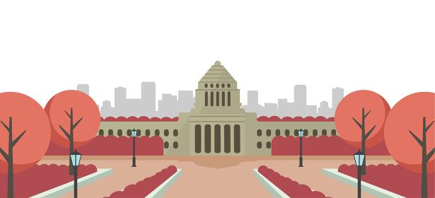 日本の国会議事堂 正面イラスト / 日の出・朝焼け・夕方・夕焼け