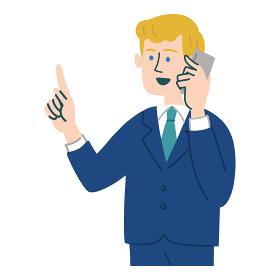 スーツ 男性 外国人 ブロンド 携帯電話 スマホ 提案