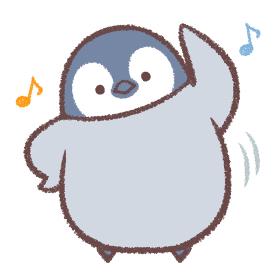 体操をするペンギンヒナ(音符記号付き)