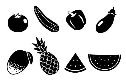 夏の野菜と果物 アイコンセット