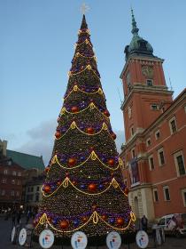 ポーランド・クラクフの中央市場広場にてクリスマスツリーの昼間の様子