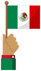 手持ち国旗イラスト ( 愛国心・イベント・お祝い・デモ ) / メキシコ