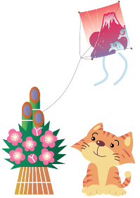 初日の出の富士山の凧と猫