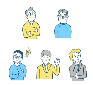 男性5人表情 セット ブルー