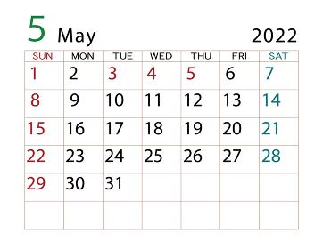 2022年 カレンダー 5月 その2