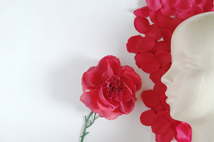>造花の赤い薔薇と花びらと発泡スチロール製モデル人形の左向きの横顔