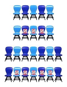 並んでいる椅子 ソーシャルディスタンスの保たれた椅子 セット 3DCGインテリア 感染対策