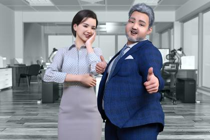 若い女性社員とビジネスマンの太った髭の中年男性が楽しく働くオフィスでグッドサインのポーズをする