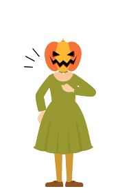 ハロウィンの仮装、カボチャのお化け姿の女の子が胸を叩いているお任せあれのポーズ