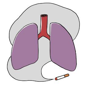 たばこの煙と不健康な肺のイメージ