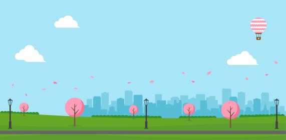 桜の咲く春の公園(人物なし)横長バナーイラスト