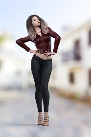 両手を腰に当てて空を見上げるワインレッドのライダースジャケットをたワッフルヘアの女性