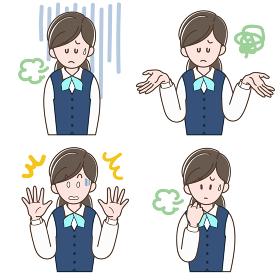 ネガティブな表情の制服の女性_セット