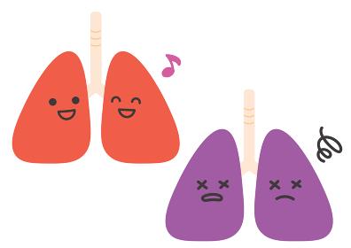 健康な肺と不健康な肺のイラスト
