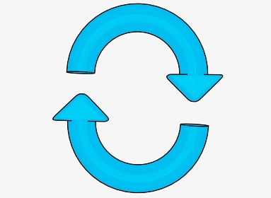 縦向きのシンプルな水色矢印のループ