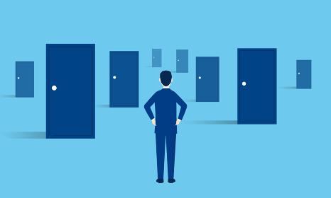 たくさんのドアと悩むビジネスマン、選択のイメージ、ベクターイラストレーション