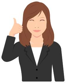 若い会社員女性 (OL,ビジネスウーマン) 上半身イラスト / グッド, イイね,笑顔