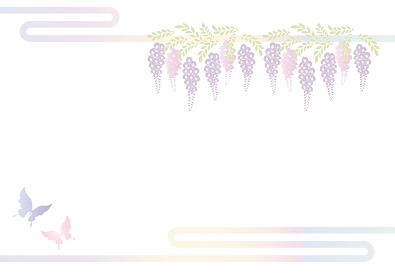 胡蝶 アゲハチョウと藤の花の切り絵風デザイン 背景素材 イラスト ベクター