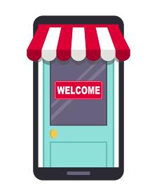 オンラインショップコンセプト、スマートフォン、店舗ドア