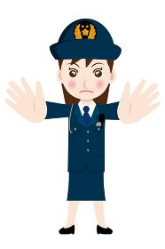働く人制止のポーズをする制服を着た婦人警官・警察官・お巡りさんのイラスト若者青年