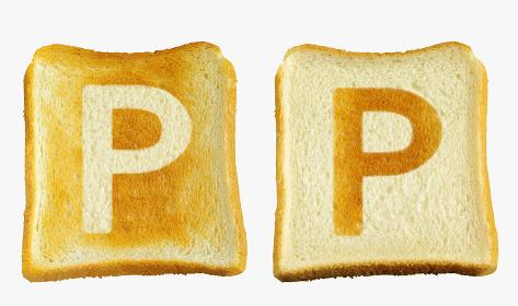 食パンに焼印風のアルファベットの大文字のP
