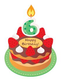 6歳のキャンドルをのせた苺とチョコのお誕生日ケーキ